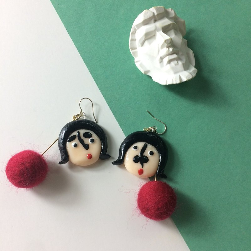 Face clay earrings - handmade