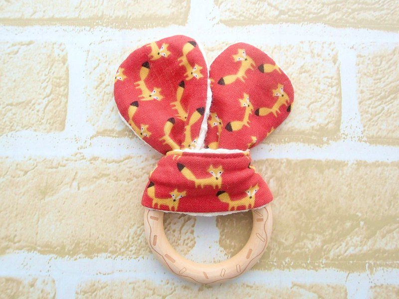 Wooden Teething Ring, Engraving Cookie Teether, Japanese Double Gauze, Fox