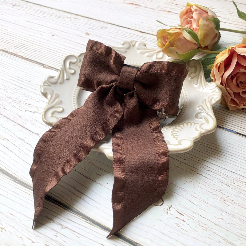 Sweet and elegant ruffled bow ponytail clip / coffee