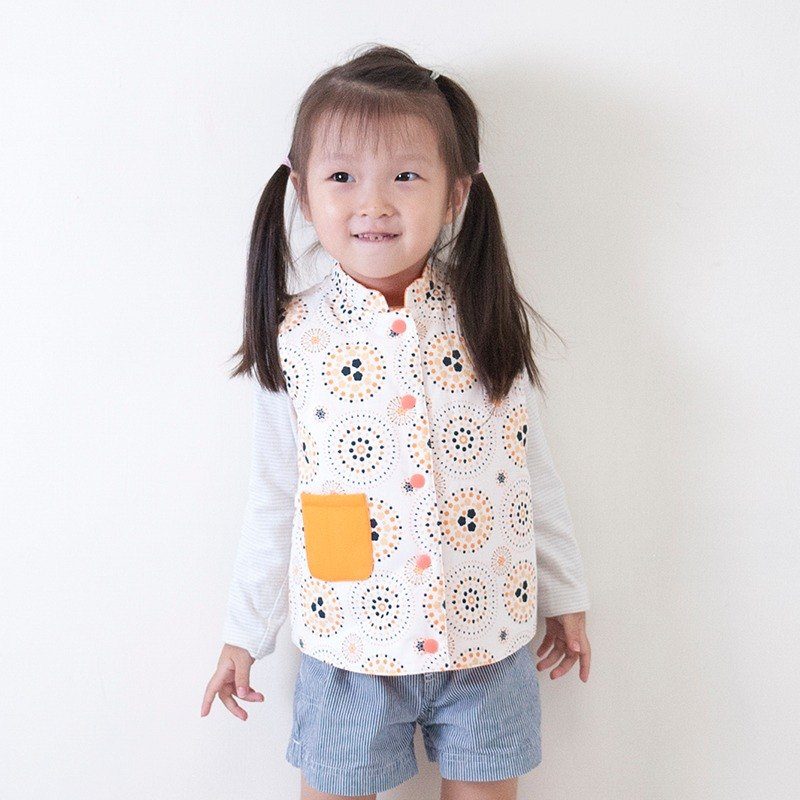 Firework reversible cotton padded vest - fabric by inblooom - white & orange