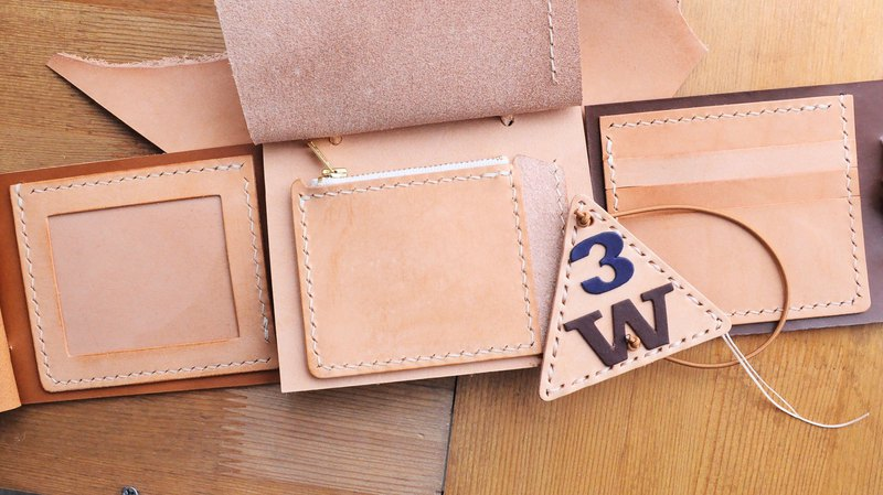 3W short clip material bag series - 3 position photo coin purse short clip leather material bag couple wallet