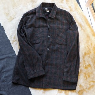 Fukui dark coffee plaid simple winter party antique wool shirt shirt jacket vintage