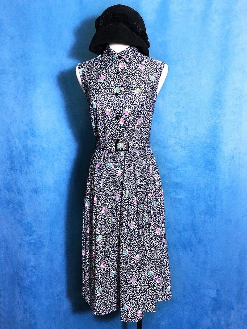 Flower belt with sleeveless vintage dress / brought back to VINTAGE abroad