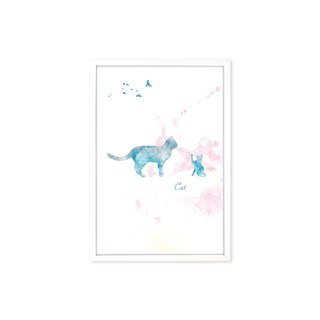 HomePlus Decorative Frame BEST COMPANION-CAT White frame 63x43cm Homedecor