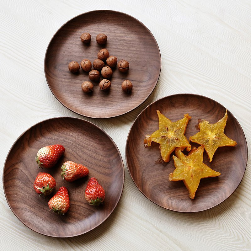 Walnut disc Japanese-style log plate creative fruit plate wooden plate snack dishware
