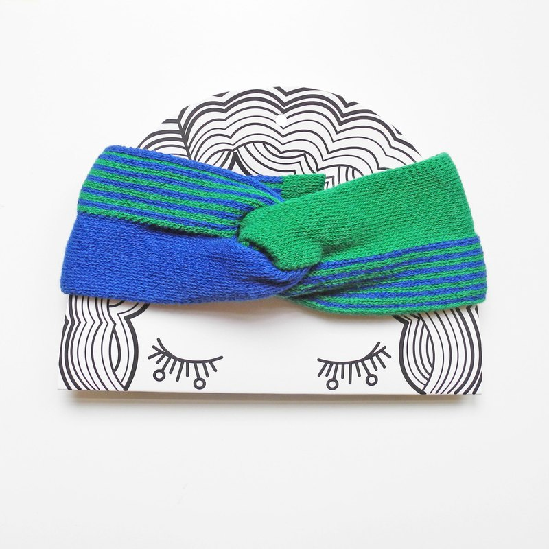 studio chiia - Knitted French Headband- Cobalt/Green