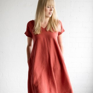 Linen Dress Motumo – 17S9 / Handmade loose linen summer dress