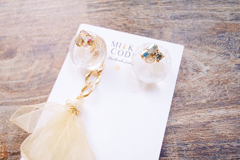 [Light gold series] dual-use transparent white gauze Epoxy chain tassel earrings / ear clips