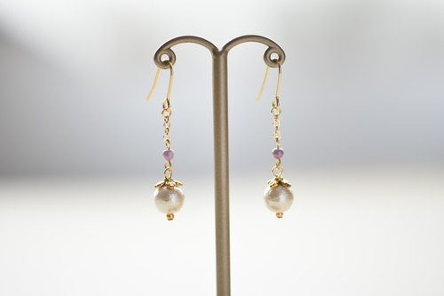 Cotton pearl chain pierced earrings purple green pink
