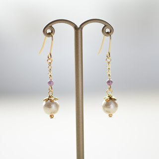 コットンパールチェーンpierced earrings purple green pink