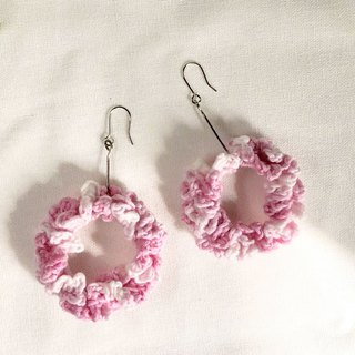 Crochet _ Wreath Dangle Earrings _ Pink