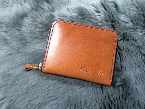 Handmade leather U-shaped zipper bag brown large capacity bag can hold a large number of bank card change