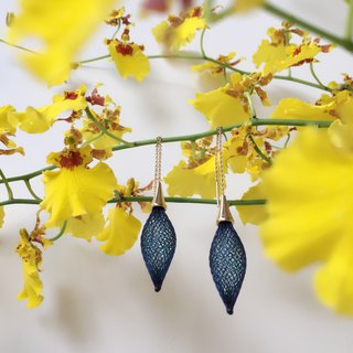 French handmade nylon flower earrings
