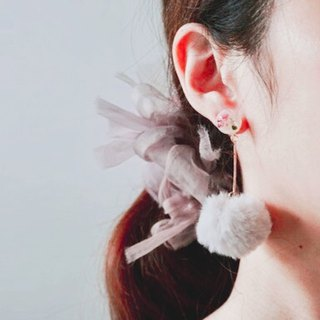 Pressed Flower Earrings and Cute Faux Fur Balls