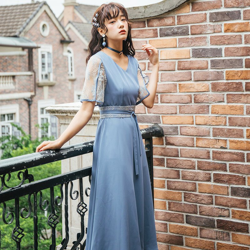 [Multiple folds] Anne Chen 2019 female summer lace with waist seal dress dress 9405
