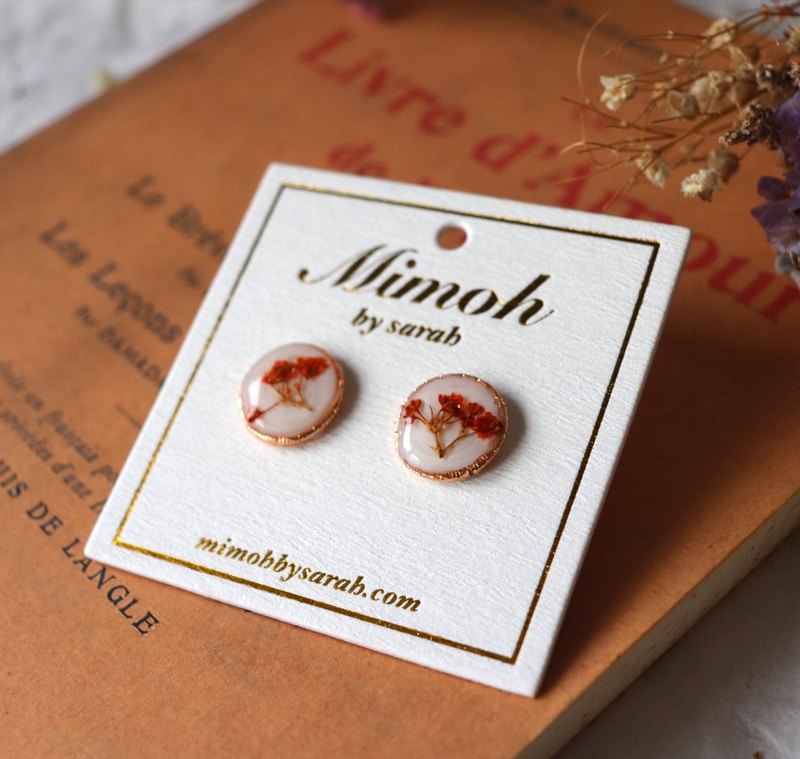 Orange-red Pressed Flower Earrings