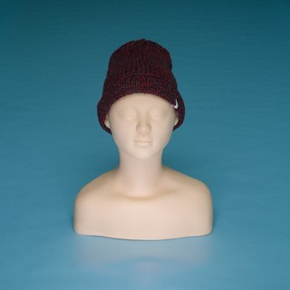 Lightweight - Gray Red LT04 Hand-knitted Cap