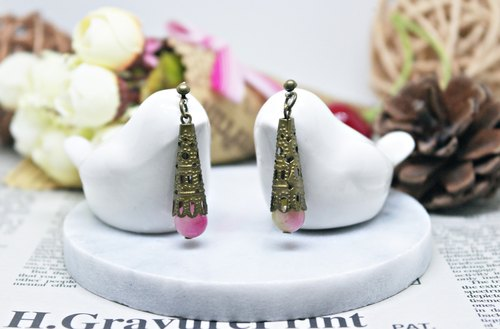 Natural stone alloy X * _ * pink floor length pin earrings