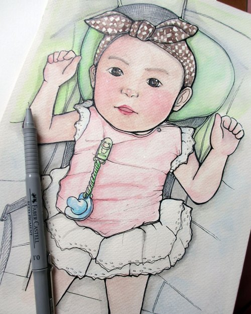 DUNMI meters / A4 hand-painted Q illustration - Mommy baby (without box)