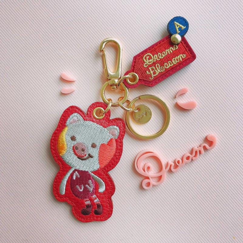 小豬掛飾鑰匙圈 紅色