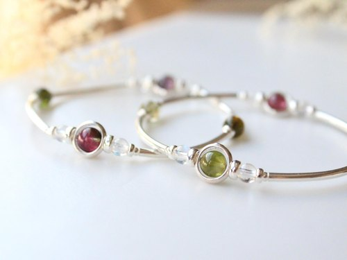 Color Dream Journal / watermelon tourmaline, moonstone, sterling silver bracelets
