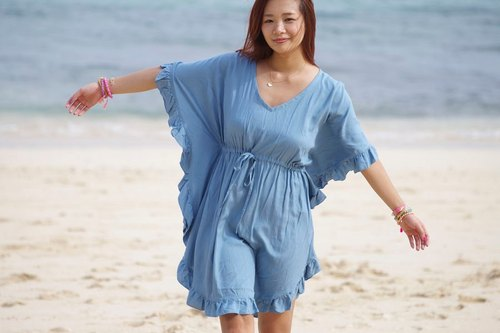 Butterfly sleeve ruffle dress <Blue>