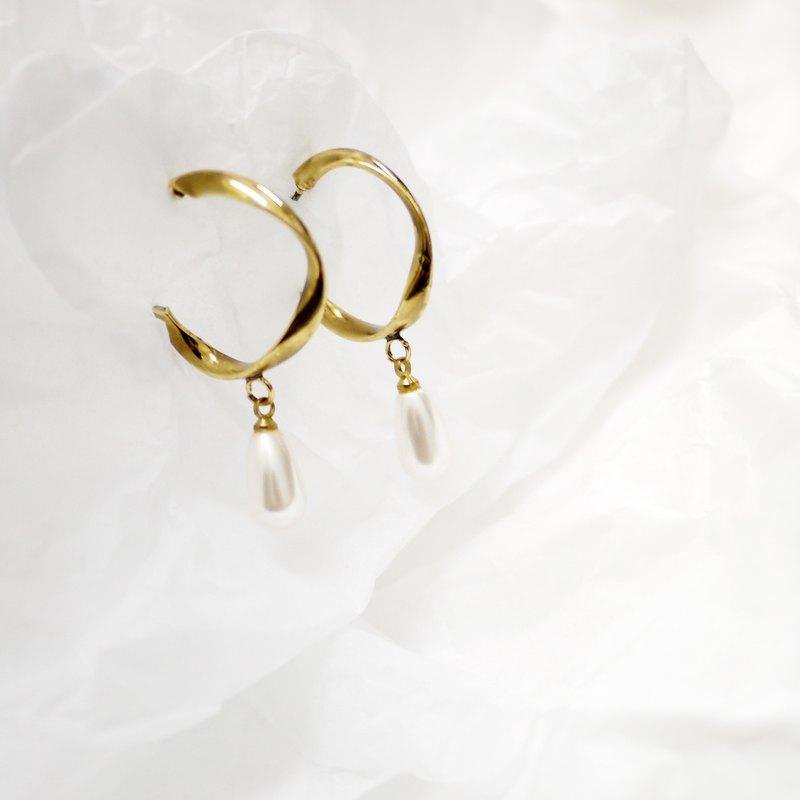 歐系復古黃銅珍珠 耳飾