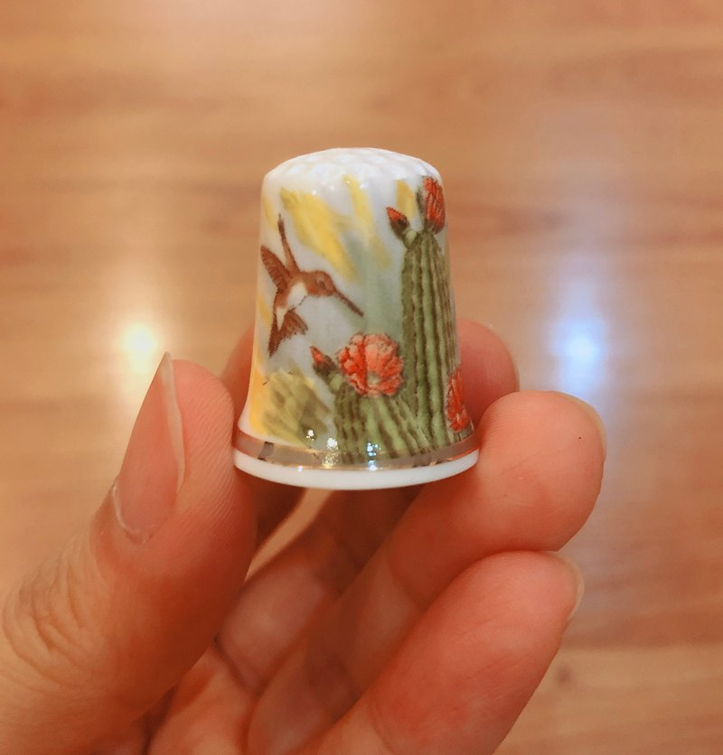 British antique thimble collection bird series E
