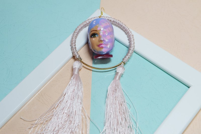 Barbie head necklace /vintage doll face/Purple/tassel/Exaggeration/dreamy color