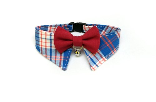 [Miya ko.] Handmade cloth grocery cats and dogs tie / gentleman collar / bow / handsome plaid / pet collars