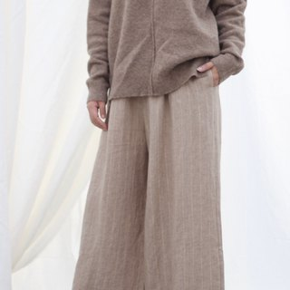 [Spot] original retro literary yarn-dyed linen wide-leg pants - khaki stripes