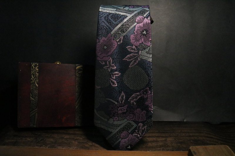 Purple flower tie silk business man necktie