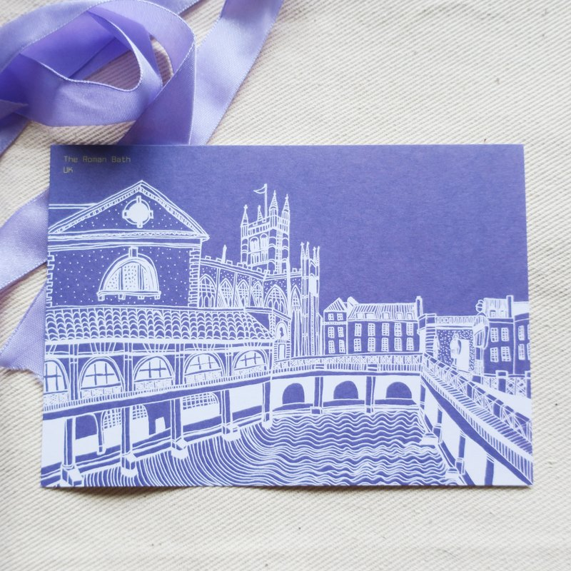 Travel landscape UK - Bath / illustration postcard
