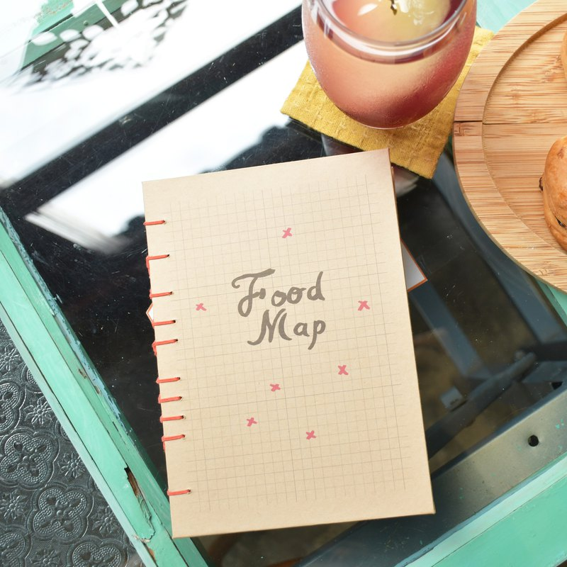 Food Map handmade notebook