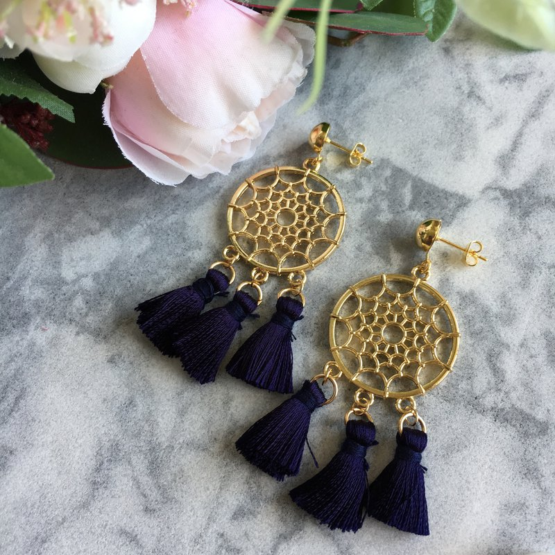 Gold-Tone Net Navy Blue Tassel Earrings