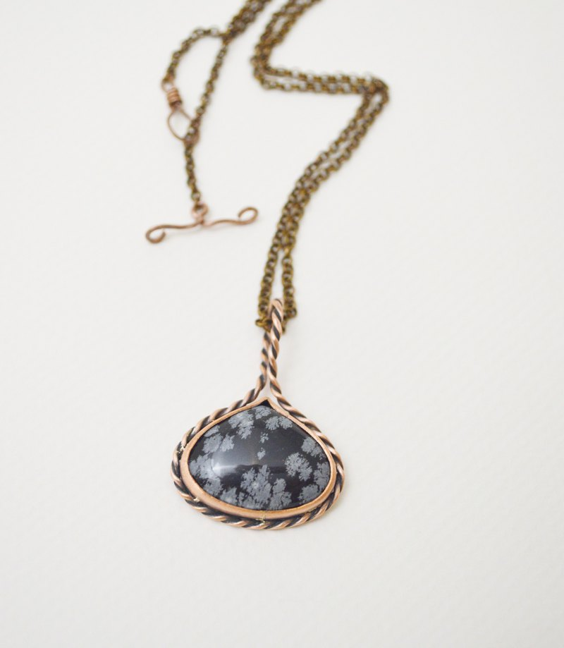Rope Series‧Snowflake Obsidian‧Copper Pendant‧Brass Rolo Chain Necklace