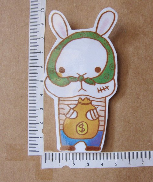 Hand-drawn illustration style completely waterproof sticker rabbit thief