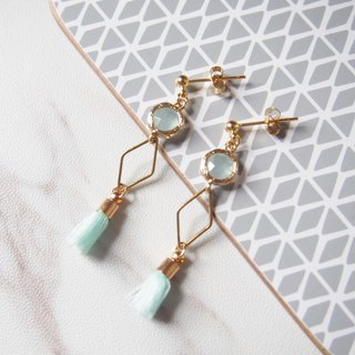 Gold-plated edging glass imitation gemstones • Brass geometry • Mini tassels • Alloy stud earrings