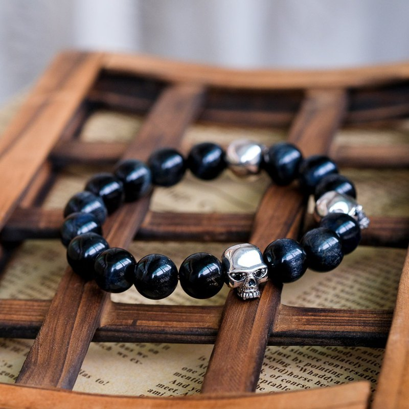 Natural Stone Beads Bracelet - Black 925 Sterling Silver