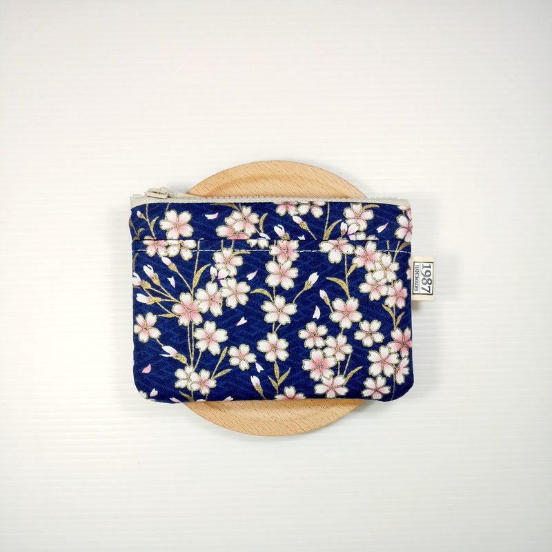 [Spring Sakura - Dark Blue] Coin Purse Clutch Bag with Zipper Bag Christmas Exchange Gift