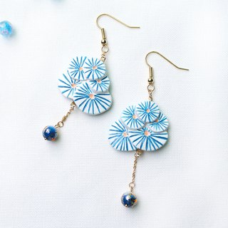 Handmade fireworks earrings (Blue)