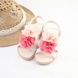 Hawaiian Flower Leather Sandals - Almond Rice