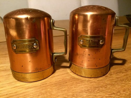Bronze old gold pieces spice jar set