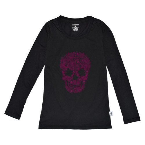 British Fashion Brand [Baker Street] Blossom Skull Printed Long Sleeve