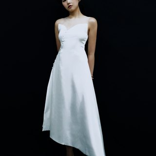 Love Philosophy bridal simple wedding dress - decorative button diagonal cut skirt dress