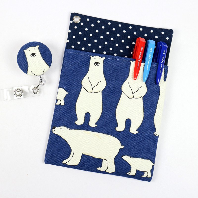 Physician Pocket Pocket Leakproof Ink Storage Bag Pen Bag + Document Clip - Polar Bear (Blue)