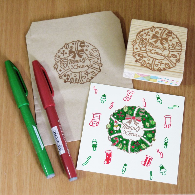 Hand carved rubber stamp - Christmas wreath stamp