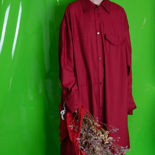 Powder.Yellow autumn and winter long dark red loose shirt jacket