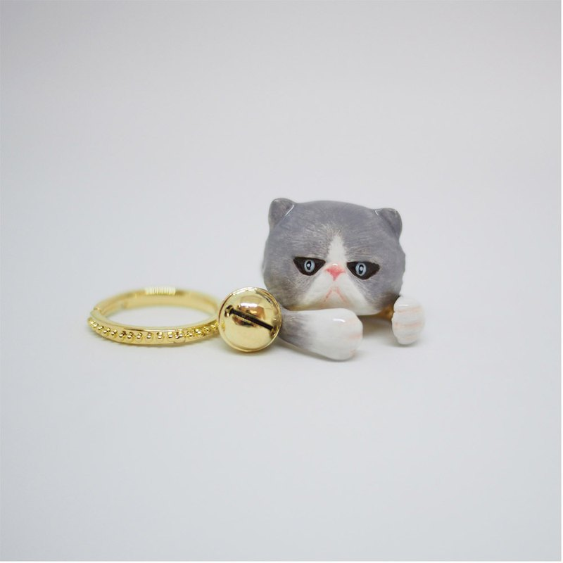Grey Cat Ring Set