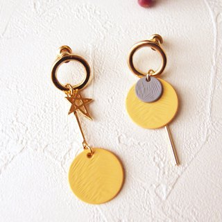 geometry. Yellow - round clip-on, pin earrings. Another stainless steel ear pin